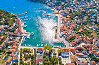 Town of Jelsa bay and waterfront aerial view, Hvar island