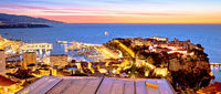 Monte Carlo and Monaco cityscape colorful evening panoramic view