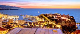 Monte Carlo and Monaco cityscape colorful evening panoramic view