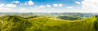 Aerial drone view 180 degrees scenic panoramic landscape of nature in Carpathians, Ukraine