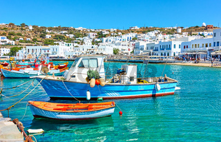 Old port with fishing boats in Mykonos