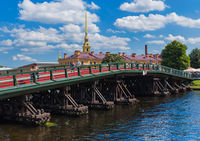 Saint-Petersburg, Russia - July 27, 2020: Bridge in Peter-Pavel's Fortress on Rabbit island