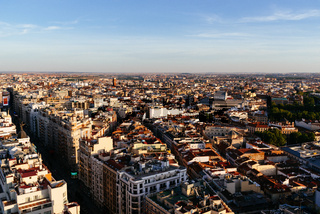 Madrid city centre aerial panoramic view at sunset