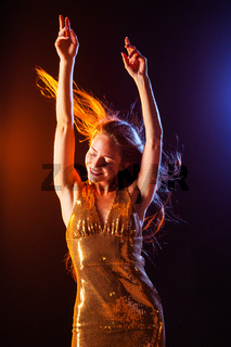 Dancing girl on disco party
