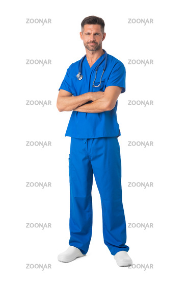 Male nurse in uniform isolated on white