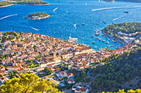 Hvar bay and yachting harbor aerial panoramic view