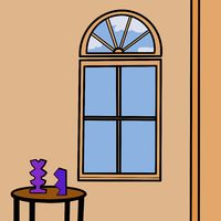 Illustration of an interior with an arched window