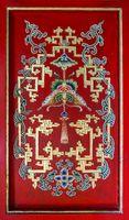multicolor asian ornament on wall