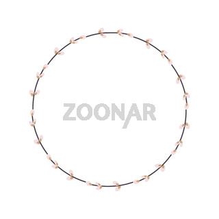Willow wreath. Round frame made of willow twigs. Easter wreath made of willow stalks.Vector flat illustration isolated on a white background. Design for invitations, postcards, printing.