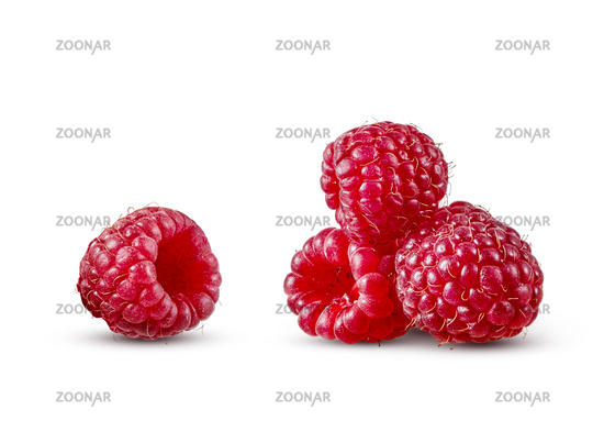 Fresh ripe natural organic raspberry isolated on a white background.