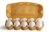 Open tray with eggs front view