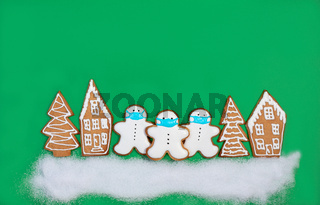 Christmas card with funny snowmen.
