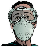 Head of Medical Worker with Protective Goggles and Face Mask