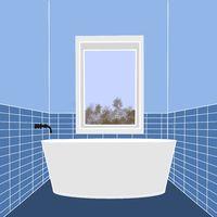 Illustration of a small bathroom with a bathtub