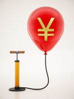 Manual hand pump connected to the inflated red balloon with Yen icon. 3D illustration