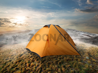 Tourist tent in mountains