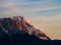 Summit Zugspitze at twilight, Wetterstein mountain range, Bavarian Alps, Germany