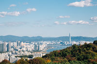 Panoramic view of Seoul city and mountains from Namsan tower in Seoul, Korea