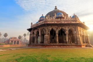 Isa Khan's tomb, beautiful sunrise view, Humayun's Tomb complex, New Delhi, India