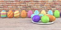 Colored easter eggs on the wooden table and brick wall in the background. 3d illustration.