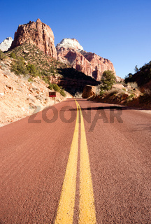 Two Lane Road Mountain Buttes Zion National Park Desert Southwest