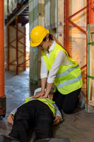 Warehouse worker do CPR after accident