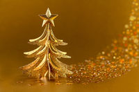 Festive golden Christmas tree.