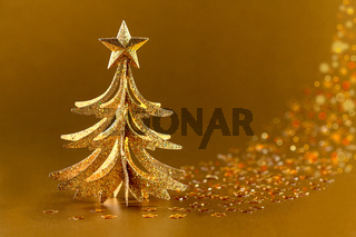 Festive golden Christmas tree.