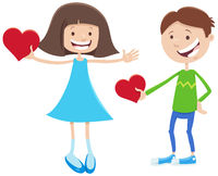 Valentine card cartoon with girl and boy characters