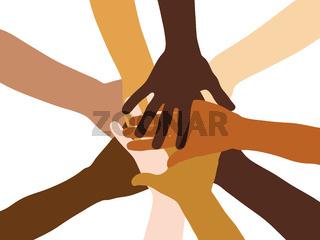 Viele gestapelte Hände als Team Konzept