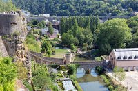 Luxembourg city, aerial view of the Old Town and Grund