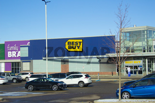 Calgary Alberta, Canada. Oct 17, 2020. Best Buy is an American multinational consumer electronics retailer headquartered in Richfield, Minnesota.