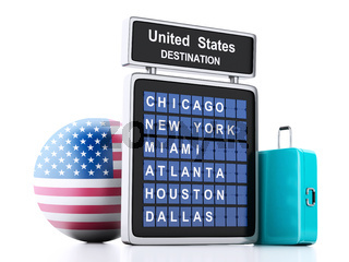 3d united states airport board and travel suitcases on white background