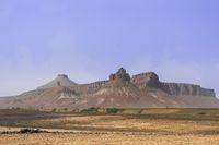 Rock formation in the Sahara, near the salt lake Iriki, Morocco, Africa.