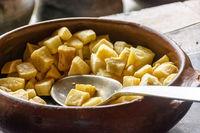 Fried cassava in the crock pot