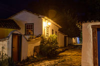 Streets of the old and historic city of Tiradentes at night