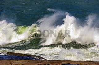 Big waves crashing on the beaches of Rio de Janeiro