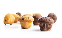 Sweet muffins. Cupcakes with chocolate.