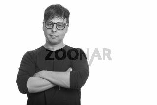 Portrait of nerd man wearing eyeglasses in black and white