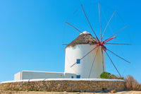 Old white windmilll in Mykonos