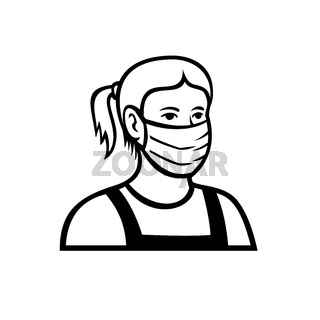 Caucasian Teenage Girl Wearing Face Mask Front View Retro Black and White