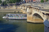 The bridge   Neuf and the water  bus, Paris
