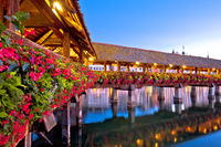 Kapellbrucke historic wooden bridge in Luzern sunset view