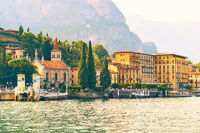 View of Cadenabbia di Griante, a small town on the shore of the lake Como in Lombardy, Italy