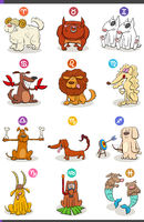 horoscope zodiac signs set with comic dog characters