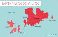 Mykonos island detailed editable map