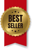 Gold Bestseller Badge With Ribbon And White Background