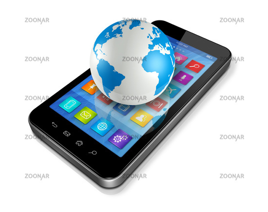 Smartphone with apps icons and World Globe
