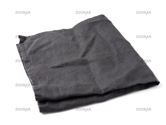 Black linen napkin isolated on white