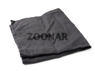 Black linen napkin isolated on white